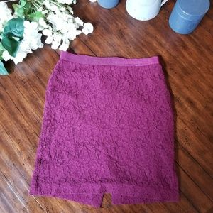 ANN TAYLOR Pencil Skirt Pink Purple Fuchsia Lace